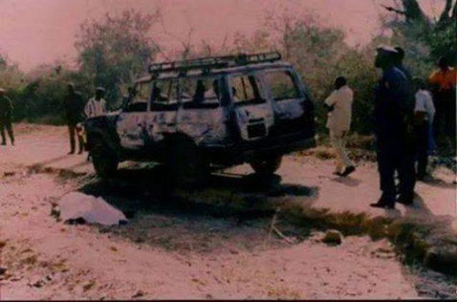 Image d'archives du véhicule transportant Norbert Zongo et ses compagnons d'infortunes le 13 décembre 1998
