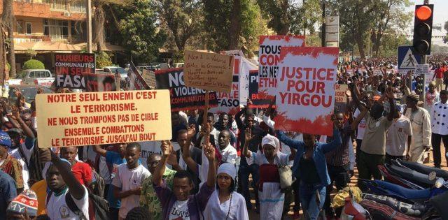 Manifestation contre l'impunité et la stigmatisation des communautés organisée à Ouagadougou