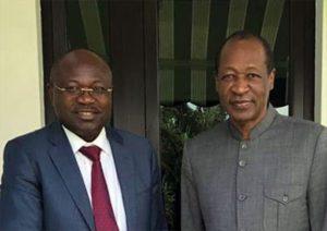 Eddie Komboigo,president du CDP et Blaise Compaoré l'ancien president du Burkina à Abidjan