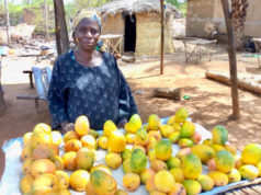 Fatimata Zongo, 55 ans, vend des fruits et légumes devant sa maison