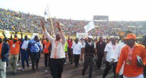 Le candidat Roch Kabore en campagne presidentielle en 2015 au stade du 4 août à Ouagadougou