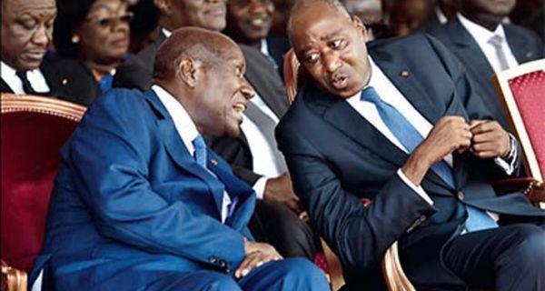 Daniel Kablan Duncan,le vice Président demissionnaire (gauche) et le defunt premier ministre Amadou Gon Coulibaly