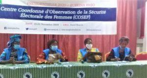 Le présidium à la conférence de presse du Centre coordonné d'Observation de la sécurité Électorale des femmes (COSEF),Libre Info